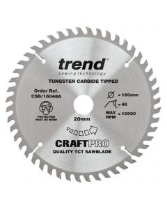CSB/16048A - Trend Craft Pro 160mm diameter 20mm bore 48 tooth fine finish cut saw blade for hand held circular saws