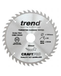 CSB/19040 - The Craft Pro 190mm diameter 30mm bore 40 tooth general purpose saw blade for hand held circular saws.