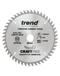 CSB/PT16048 - Trend CraftPro 160mm diameter 20mm bore 48 tooth fine finish cut saw blade for plunge saws